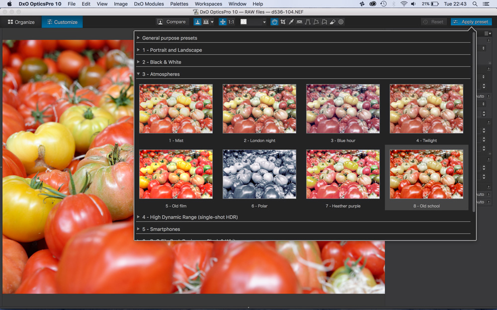 How to create and save your own DxO Optics Pro presets