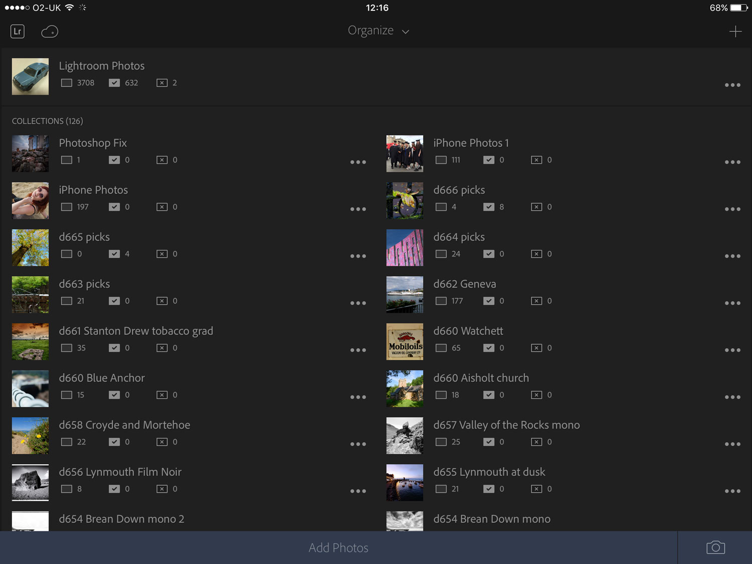 All your synced Collections will be visible in the Lightroom app on your mobile device.