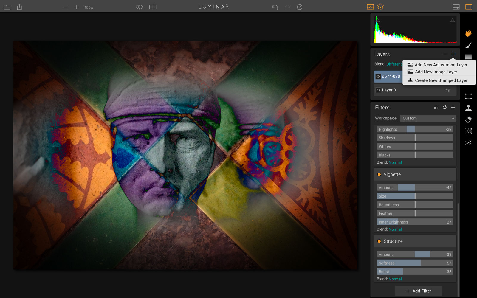 Luminar offers not just adjustment layers but image layers too – you can create composite images using layer masks and blend modes.