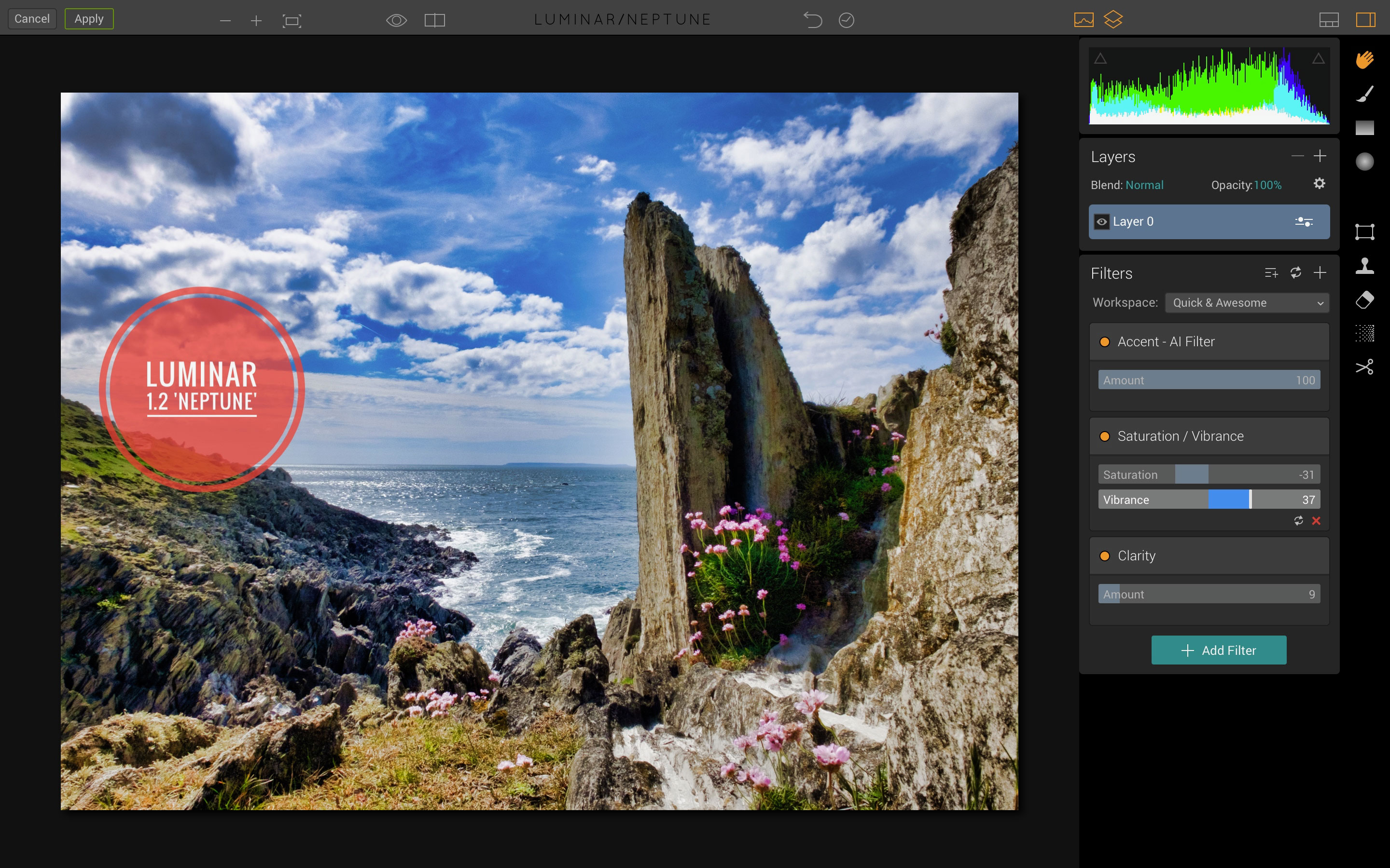 Using the Luminar Quick & Awesome workspace